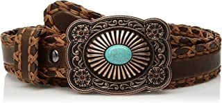ARIAT Women's Lace Edge Copper Turquoise Buckle Belt