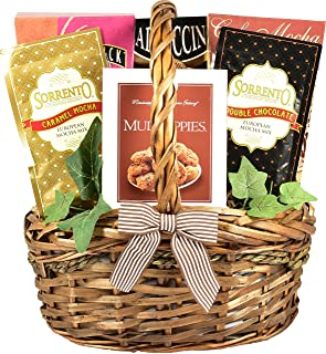 Village Caffe, Coffee Lovers Gift Basket with Chocolate Cookies, Coffee Candy, Mochas and Gourmet Coffees