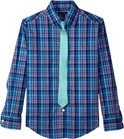 Long Sleeve Stretch Plaid Shirt w/ Straight Tie (Big Kids)