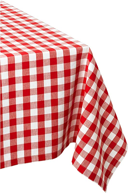 DII 60x84 Rectangular Cotton Tablecloth Red White Check Perfect For Spring Summer Christmas Farmhouse D Cor Picnics Potlucks Or Everyday Use