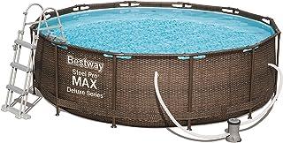 Bestway Steel ProMAX Deluxe Series Pool Set Juego de Piscinas con Marco de Acero con Bomba de Filtro, marrón, 366 x 100 cm