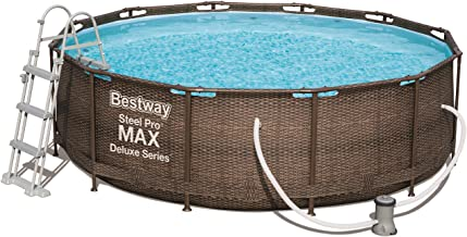 Bestway Power Steel Deluxe, Frame Pool rund mit stabilem Stahlrahmen im Komplett-Set, Rattan-Optik, 366x100 cm
