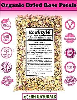 EcoStyle   Organic Dried Red Rose Petals   Premium Quality   3.5Oz (100gm)   Rosa Centifolia   Culinary & Edible   Tea   Food Grade   Baking   Cooking   Rose Water   Wedding Confetti   Non-GMO !!!
