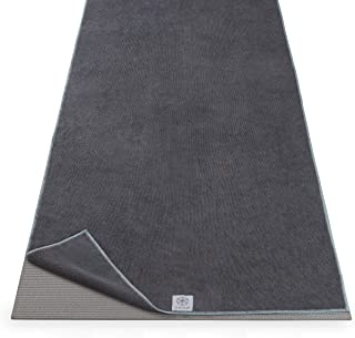 "Gaiam Yoga Mat Towel Microfiber Mat-Sized Yoga Towel for Hot Yoga (68"" L x 24"" W), Folkstone Grey"