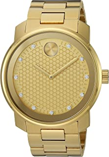 Movado Men's Swiss-Quartz Watch with Stainless-Steel-Plated Strap, Gold, 22 (Model: 3600374)