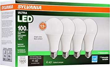 SYLVANIA 73190 Dimmable Led Light Bulb, 16 W, 120 V, 1600 Lumens, 3500 K, CRI 80, 2-5/8 in Dia X 5.15 in L, Bright White, 4 Piece