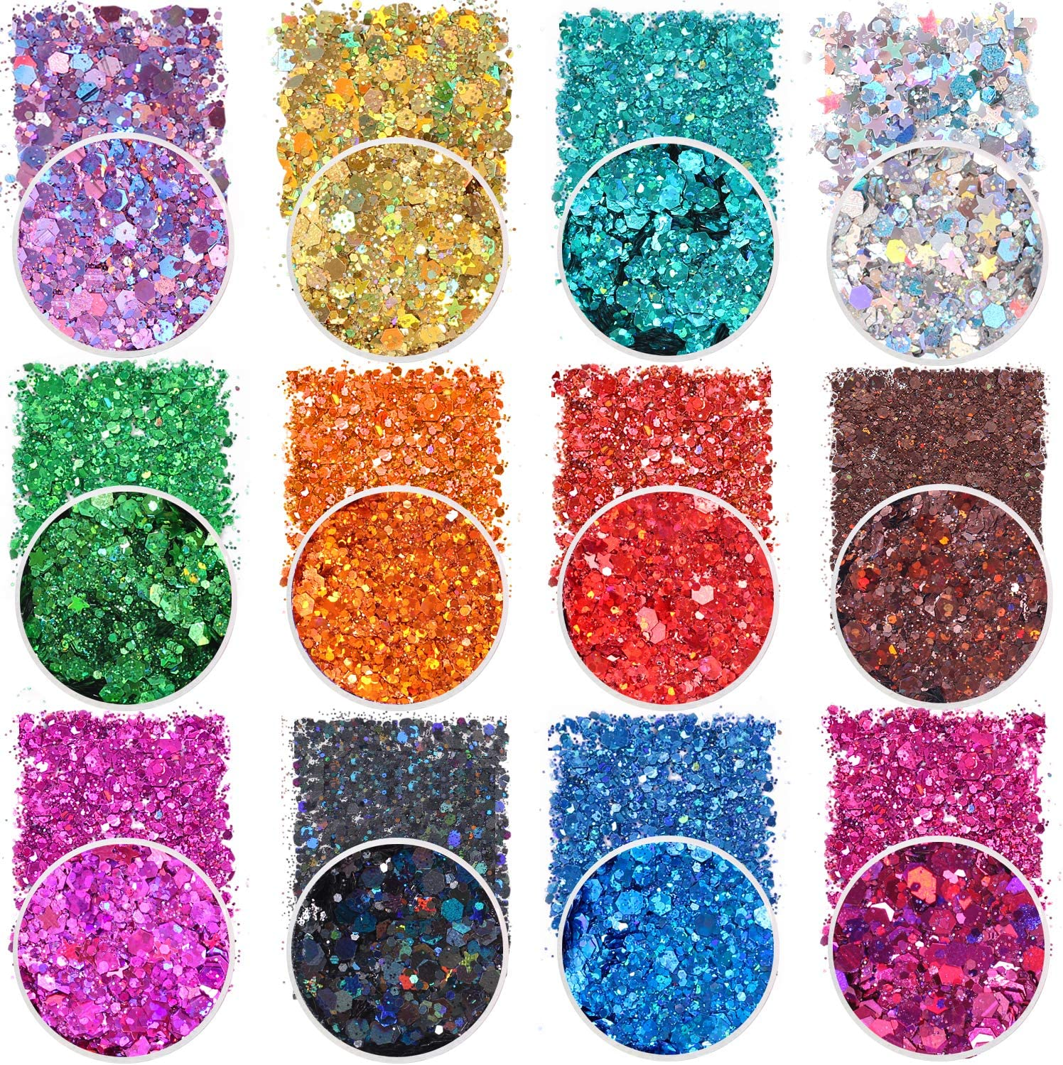 Holographic Chunky Glitter Sequins, 12 Colors Mixed Cosmetic Glitter for Face Body Eye Hair Nail Art Lip Gloss Makeup, Festival Glitter with Different Hexagons Size and Stars (Laser Mix) : Beauty & Personal Care
