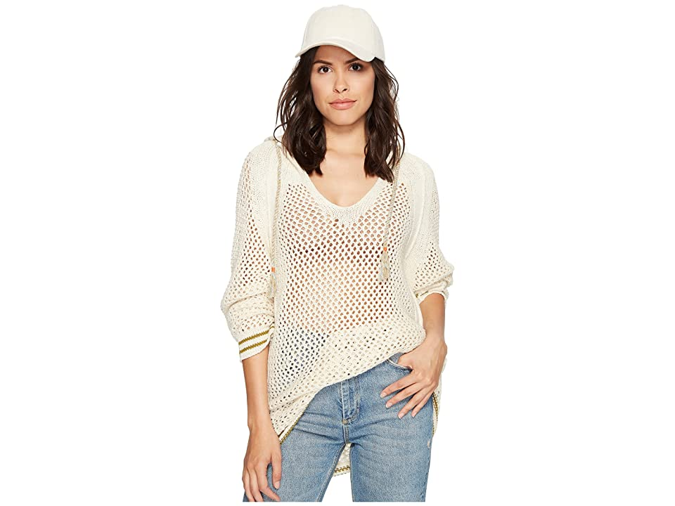 Free People Shadow Stripe Mesh Hoodie (Ivory) Women