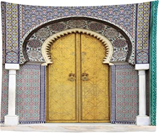 Lunarable Orient Tapestry King Size, Yellow Door of Royal Palace in FES Morocco Vintage Moroccan Artwork Mosaic Style, Wall Hanging Bedspread Bed Cover Wall Decor, 104