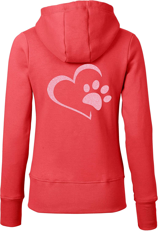 RoughTex RoughTex RoughTex Zip Hoodie Damen Sweatjacke Hund mit Druck Herz Hundepfote   hochwertiger Kapuzenpullover mit Zipper B07JK6HKQ5  Zuverlässiger Ruf 9c28bf