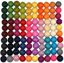 100% Wool Felt Balls - 100 pieces | Hand-Felted Pom Poms | Pure Wool Beads | Felt Ball DIY (15mm, Mixed Color)