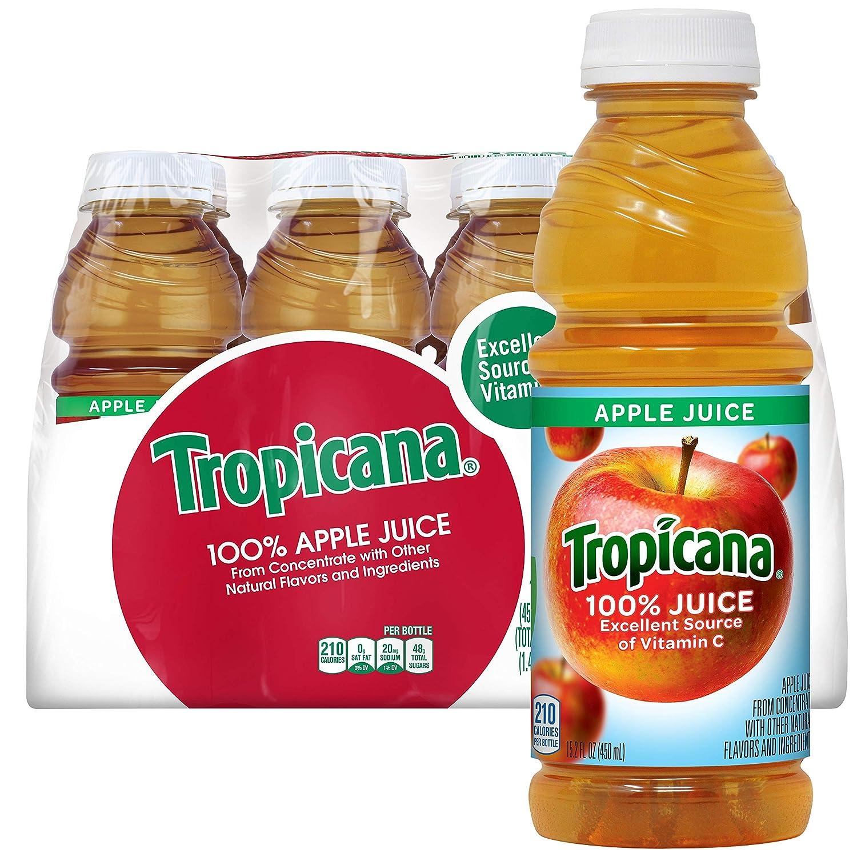 Tropicana 100% Apple Juice, 15.2 fl oz Bottles, (Pack of 12)