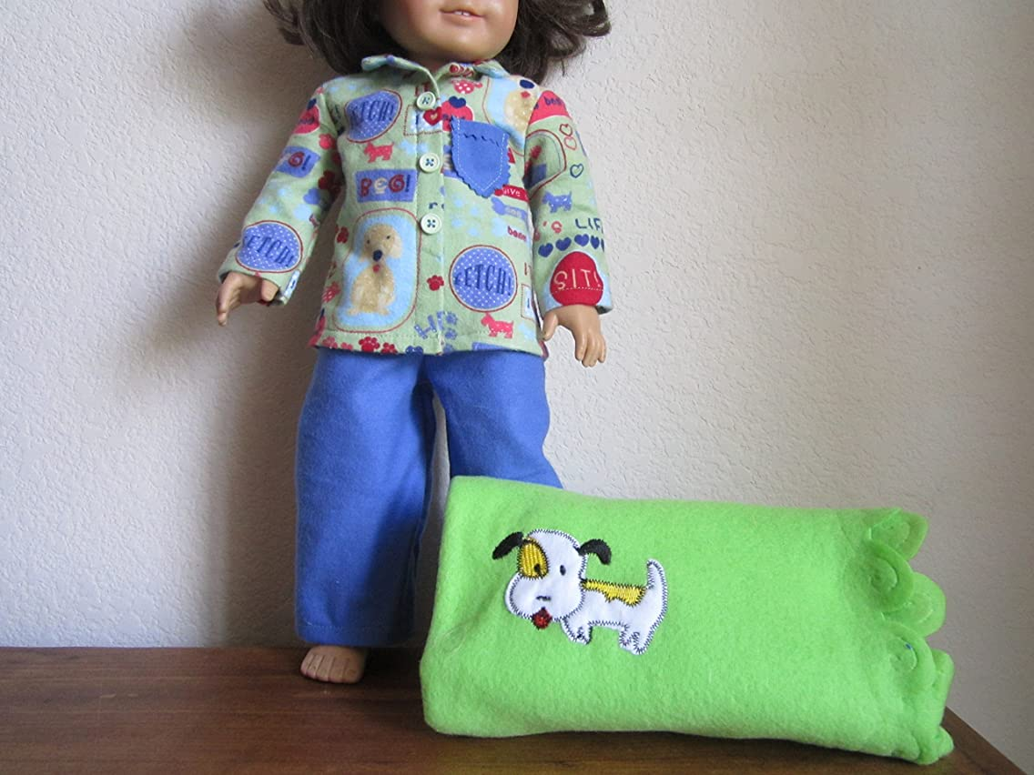 Puppy Dog Flannel Pajamas Set + Scalloped Dog Blanket fits American Girl