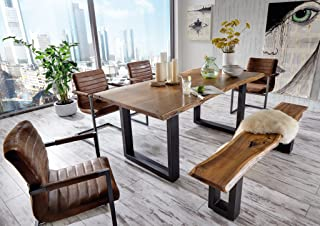 SAM 6 TLG. Essgruppe Quentin, je 1x Baumkantentisch 180x90cm & -Bank 180x40 cm, Akazienholz massiv & lackiert, 4X Schwings...