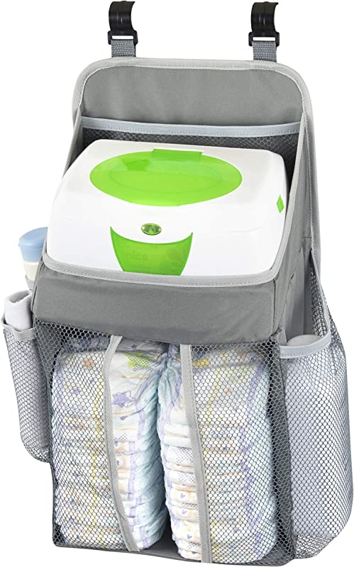Hanging Baby Diaper Caddy Organizer Hang On Door Crib Or Infant Changing Table Nursery Station Basket For Diapers Wet Wipes Clothes Storage Waterproof Stylish Unisex Grey For Boys Girls