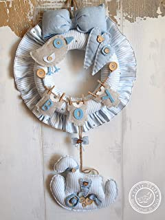 Hospital Door Hanger Boy, Baby Boy Birth Wreath, 2-DAY FEDEX DELIVERY to USA, Canada, Europe & Others