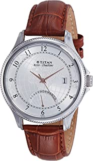 Titan Men's Silver Dial Color Leather Band Watch - 1704SL01