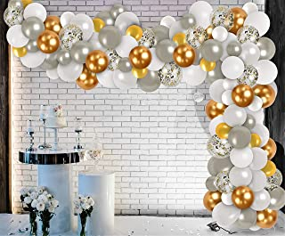 Gold Silver Balloon Garland Kit White Gold White Silver Balloons Arch 2021Graduation Decorations for Wedding Engagement Pa...