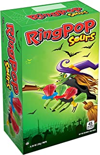 Bazooka (1) Box Ring Pop Sours Halloween Edition Witch Box - 24 Assorted Flavor Lollipops - Sour Green Apple, Sour Cherry - Net Wt. 8.4 oz