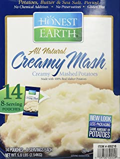 Honest Earth All Natural Creamy Mash, Made with 100% Real Idaho Potatoes, 14 Pouches (8..
