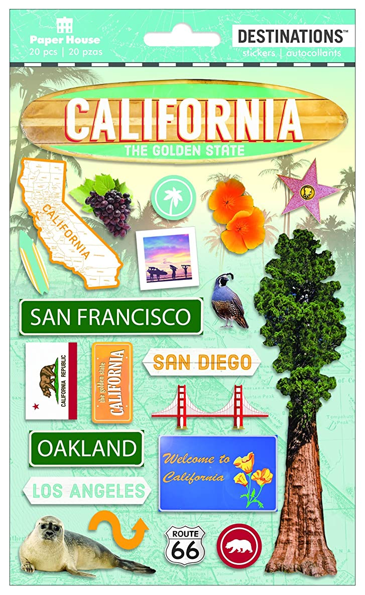 Paper House Productions Travel California 2D Stickers, 3-Pack