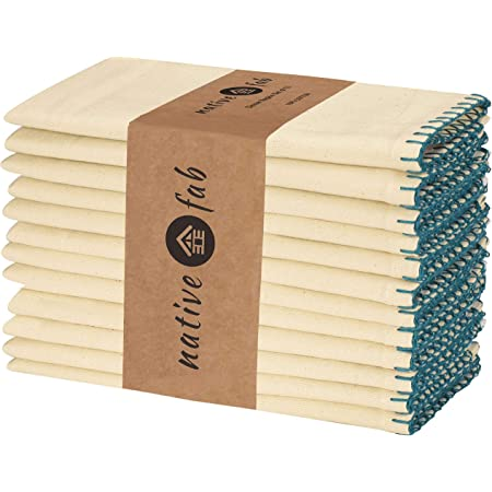 Native Fab Set of 12 Farmhouse Stripe Cloth Dinner Napkins Cotton 18x18 Absorbent Soft Restaurant Hotel Quality Everyday Use Easy Care Washable Wedding Dinner Napkins Yellow Beige