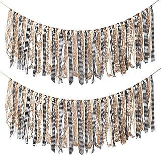 Aimto Boho Decor Rustic Ribbon Garlands Garland Already Assembled Ribbon Wedding Event & Party Supplies Shabby Chic Banner...