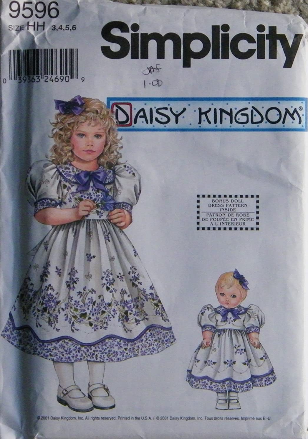 Simplicity Daisy Kingdom Pattern 9596 girls dress and doll dress