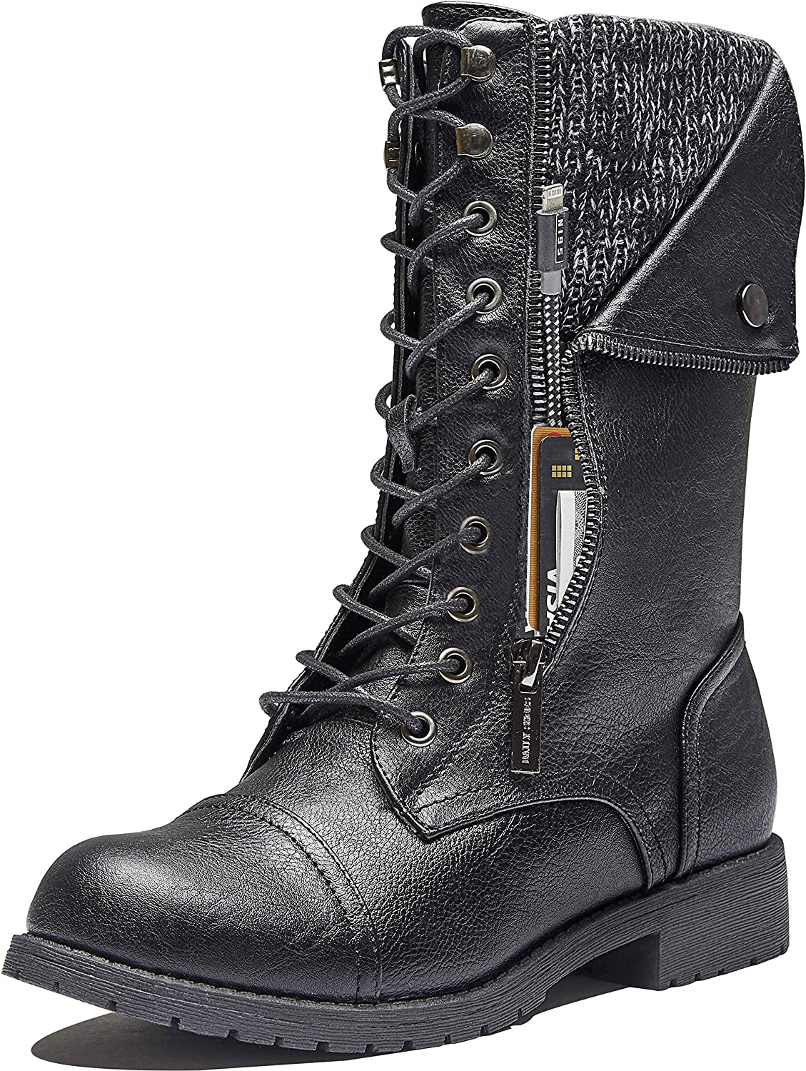 DailyShoes Women's Ankle High Exclusive Credit Card Side Zipper Pocket Hiking Booties