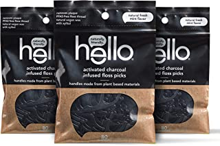 Hello Vegan Floss Picks, Activated Charcoal Infused, Fresh Mint Flavor, Easy Glide, No Shred Floss, Vegan Wax, Removes Pla...