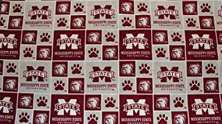 Mississippi State University Bulldogs Block Print Cotton Fabric, Maroon & White - Sold By the Yard