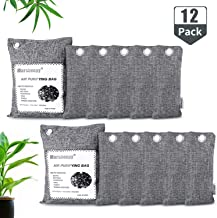 12 Pack Natural Bamboo Activated Charcoal Air Purifying Bags, Shoe Deodorizer and Odor Absorber for Closets, Wardrobe and Drawers, Car Freshener Bags (2 x 200G,10 x 75G)