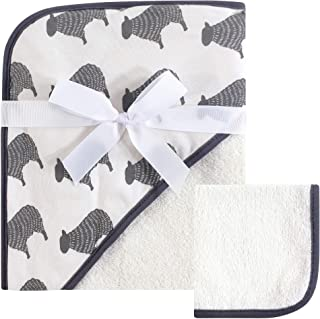 Hudson Baby Print Woven Hooded Towel and Washcloth, Cream Sheep, One Size
