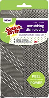 Scotch-Brite Non-Scratch Gray Scrubbing Dish Clothes, Scrubbing Power Makes Cleaning Easy, 2 Cloths
