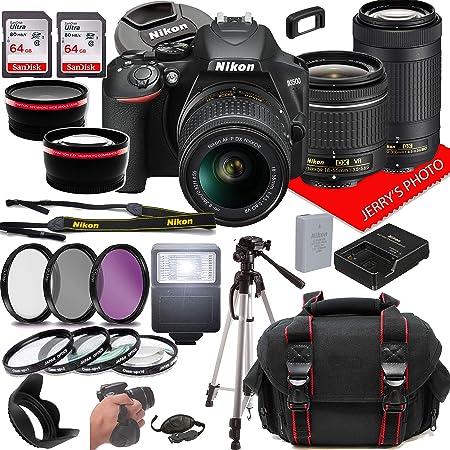 Nikon D3500 DSLR Camera w/NIKKOR 18-55mm f/3.5-5.6G VR +70-300mm f/4.5-6.3G ED Lenses + Case + 128GB Memory (28pc Bundle)