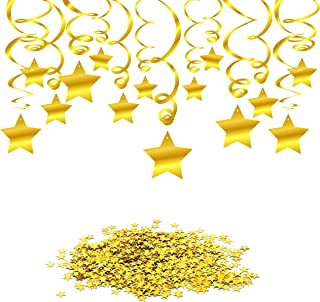 Konsait Gold Hanging Swirl Decorations Star Table Confetti, Gold Foil Whirls Ceiling Garland Decorations for Birthday Party Wedding Baby Shower Table Decor Twinkle Little Star Party Favor Supplies