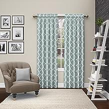 ستائر نافذة الجيب بنمط العمود المزخرف الحديث لغرفة النوم أو غرفة المعيشة (لوحة مزدوجة)، 71.12 سم × 213.36 سم، رمادي داكن