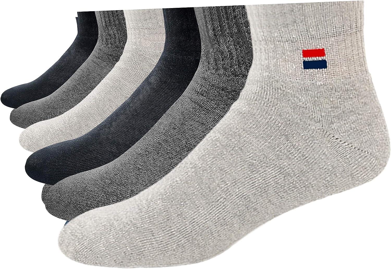 NAVYSPORT Men's Solid Cushion Comfort Athletic Quarter Socks for Running, Training, Casual Wear Pack of 6