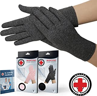 Doctor Developed Full Fingered Arthritis Compression Gloves (Grey) and Doctor Written Handbook - Soft with Mild Compression, for Arthritis, Raynauds Disease & Carpal Tunnel (Small)