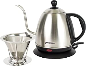 1 Liter Electric Gooseneck Kettle (1L/34oz) with Stainless Steel Pour Over Coffee Filter