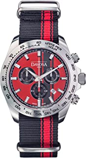 Davosa Swiss Analog Chronograph Watch - Speedline TX Stainless Steel Waterproof Sport and Dress Quartz Wrist Watch for Men with Nylon Bracelet