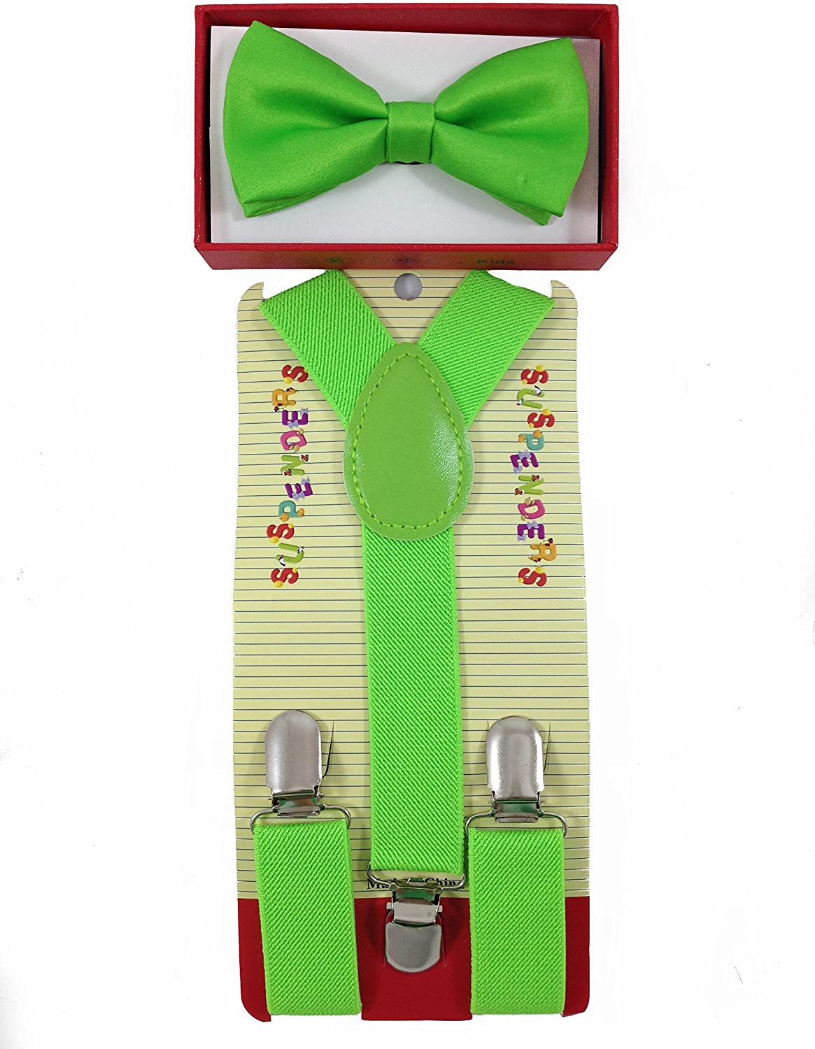 New Suspender Bow Tie Matching Colors Toddler Kids Boys Girls Child - Green