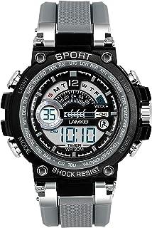 Lamkei LAM-1319 Black Dial Grey Silicone Strap Digital Multifunction Watch for Men