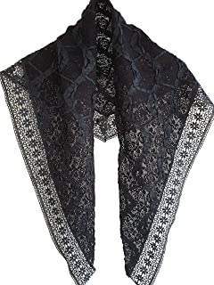 Black Guipure Lace Mantilla Catholic Chapel Veil Triangle Scarf Prayer Shawl with Wide Floral Trim and Ribbon Applique Emb...