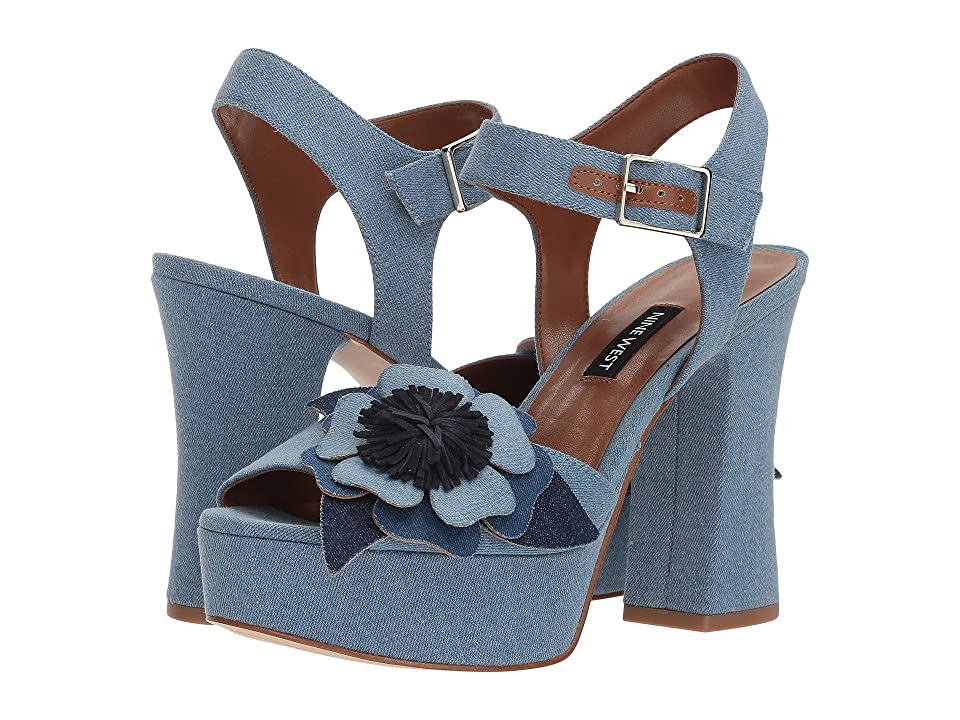 Nine West Winflower Heel Sandal (Light Blue Denim) Women