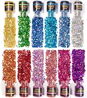 NODDWAY Holographic Chunky Glitter 12 Colors Total 180g, Chunky Sequins Iridescent Flakes, Ultra-Thin Sparkles Set for Festival Arts,Tumbler, Epoxy Resin, Slime