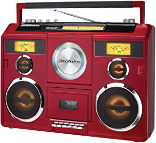 Sound Station Portable Stereo Boombox with Bluetooth/CD/AM-FM Radio/Cassette Recorder (Red)