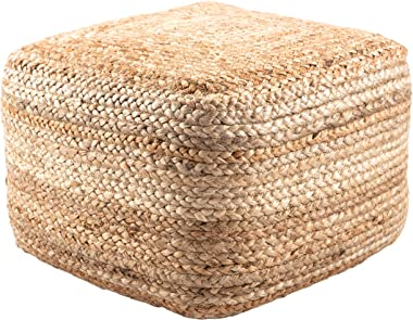 Natural Jute Ottoman, Beige Braided Rows Square Pouf Beads Fill, Modern Braid Weave Cube Footstool for Sitting Area Cottage C