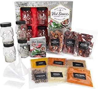 Thoughtfully Gifts, DIY Hot Sauce Kit, Gift Set Includes 4 Skull Glass Jars, 2 Funnels, Seasonings, Gloves and Recipe Book