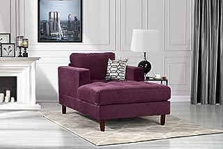 DIVANO ROMA FURNITURE Mid Century Modern Velvet Fabric Living Room Chaise Lounge (Purple)